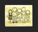 Wood-Mounted Stamp - 5 People