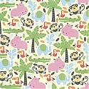 DCWV Patterned Paper - Palms & Hippos with Glitter